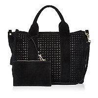 Black suede laser cut handbag