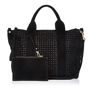 Black suede laser cut handbag