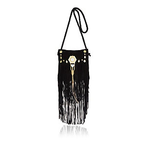 Black leather fringed cross body handbag