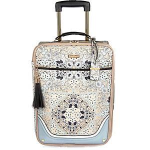 Blue floral print suitcase