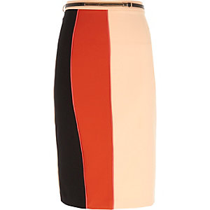 Red color block pencil skirt