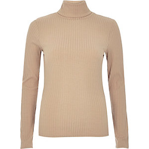 Light brown ribbed roll neck top