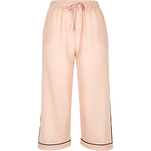 Cream polka dot cropped pyjama bottoms