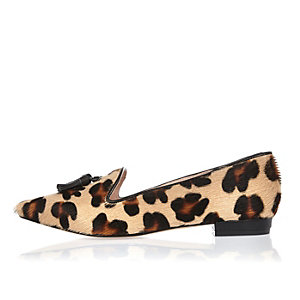 Brown leopard print leather shoes