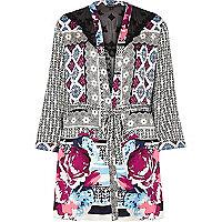 Black satin floral print kimono robe