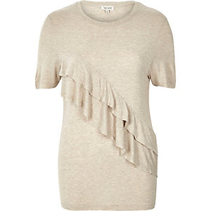 Beige frill front short sleeve t-shirt