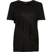 Black frill front t-shirt