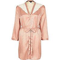 Pink silky jacquard lace kimono
