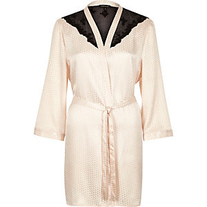 Cream jacquard lace kimono robe