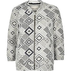 Grey geometric lace overlay bomber jacket