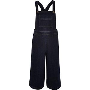 Dark blue denim culotte overalls