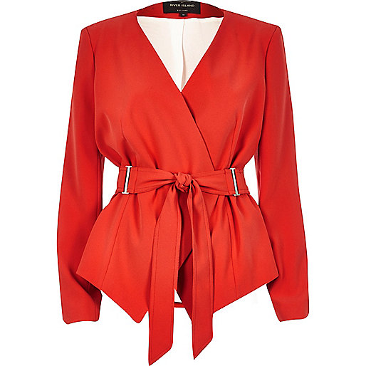 Red fitted belted blazer