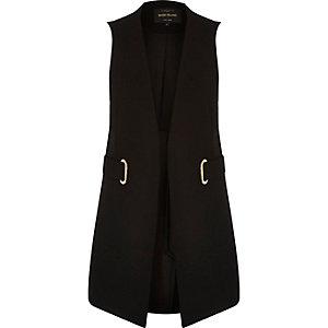 Black eyelet sleeveless jacket