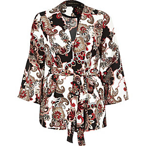 Red paisley print belted jacket
