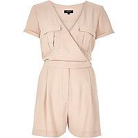 Light pink wrap short sleeve romper