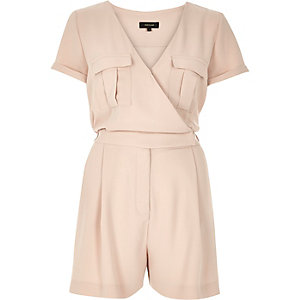 Light pink wrap short sleeve romper