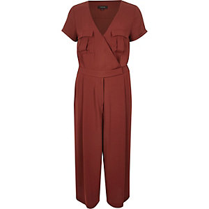 Brown smart minimal culotte jumpsuit