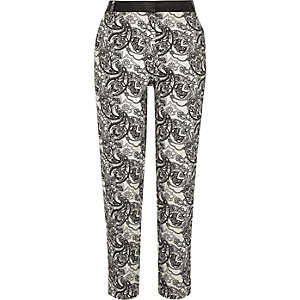 Cream paisley print cigarette pants
