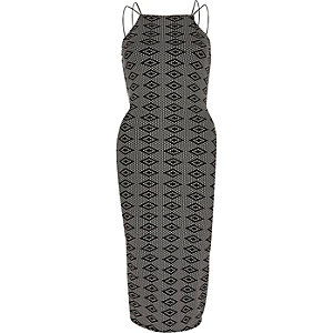 Black jacquard print sleeveless bodycon dress