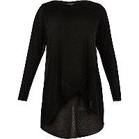 RI Plus black knitted wrap top