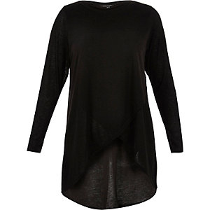 RI Plus black knitted wrap top