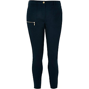 RI Plus navy twill skinny pants