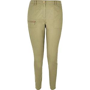RI Plus khaki twill skinny trousers