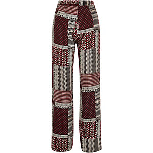 Red patchwork wide leg pants