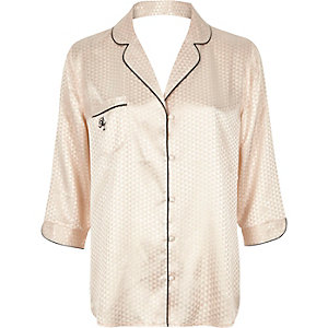 Cream jacquard pajama shirt