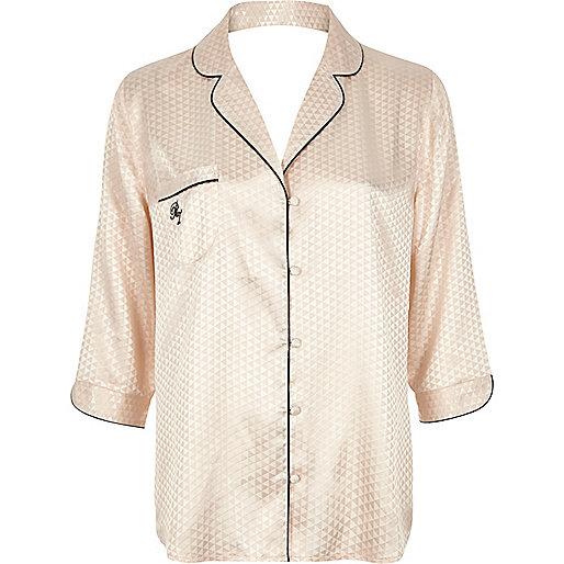 Cream jacquard pajama shirt