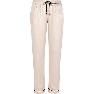 Cream jacquard pajama bottoms