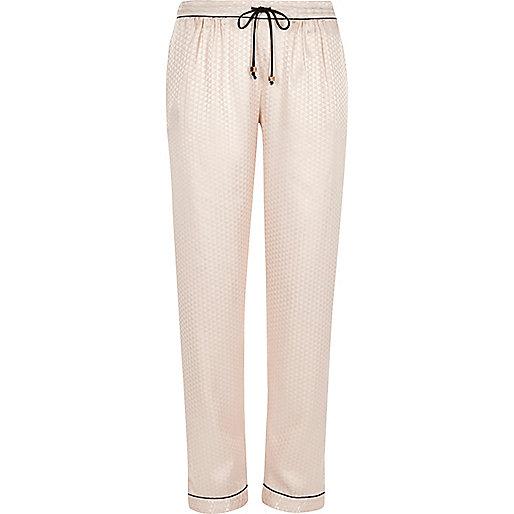 Cream jacquard pajama bottoms