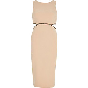 Beige embellished cut-out bodycon dress