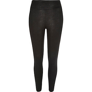 Black snake print high waisted leggings