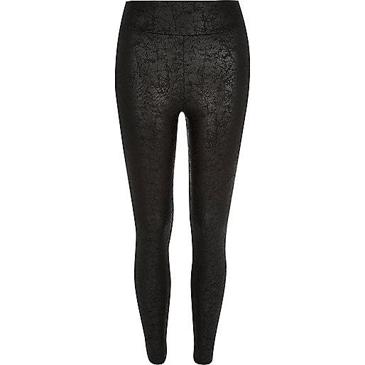Black marble print high rise leggings
