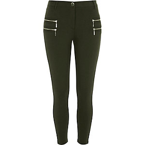 Khaki ponte double zip superskinny pants