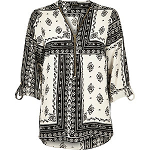 Black printed zip-up neck blouse