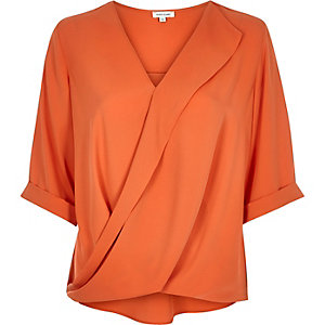 Orange frill wrap blouse