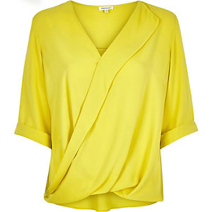 Lime frill wrap blouse