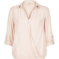 Pink wrap front blouse