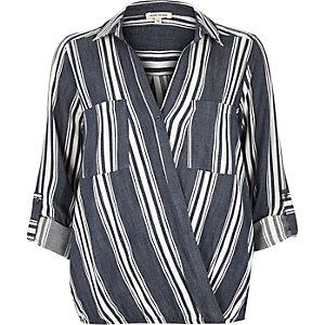 Navy stripe wrap blouse