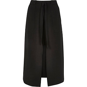 Black utility split front midi skirt