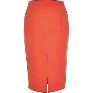 Orange jersey pencil skirt