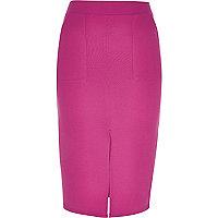 Pink jersey pencil skirt