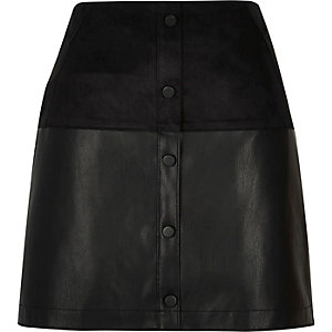 Black faux suede mini skirt