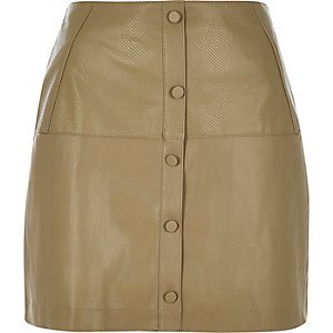 Green leather-look button up mini skirt