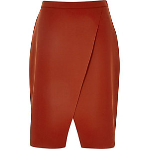 Rust brown wrap front skirt