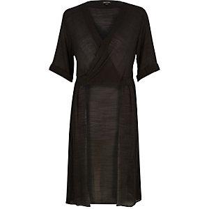 Black wrap longline blouse