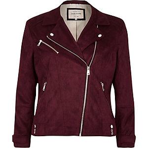 Dark red faux suede biker jacket