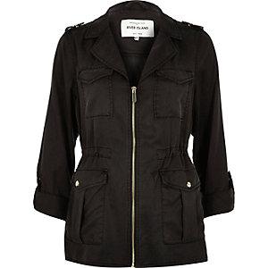 Black military zip jacket